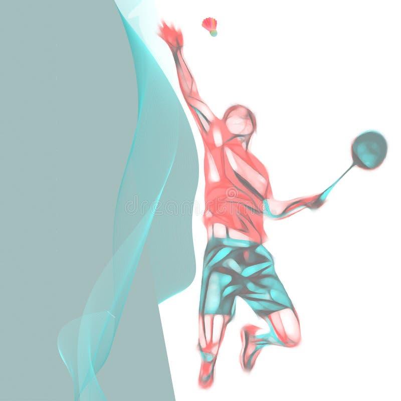 Jogador profissional abstrato do badminton com espaço para o inseto, cartaz, Web, folheto, compartimento fotografia de stock