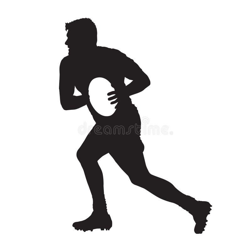 Jogador running do rugby com bola, silhueta do vetor ilustração royalty free