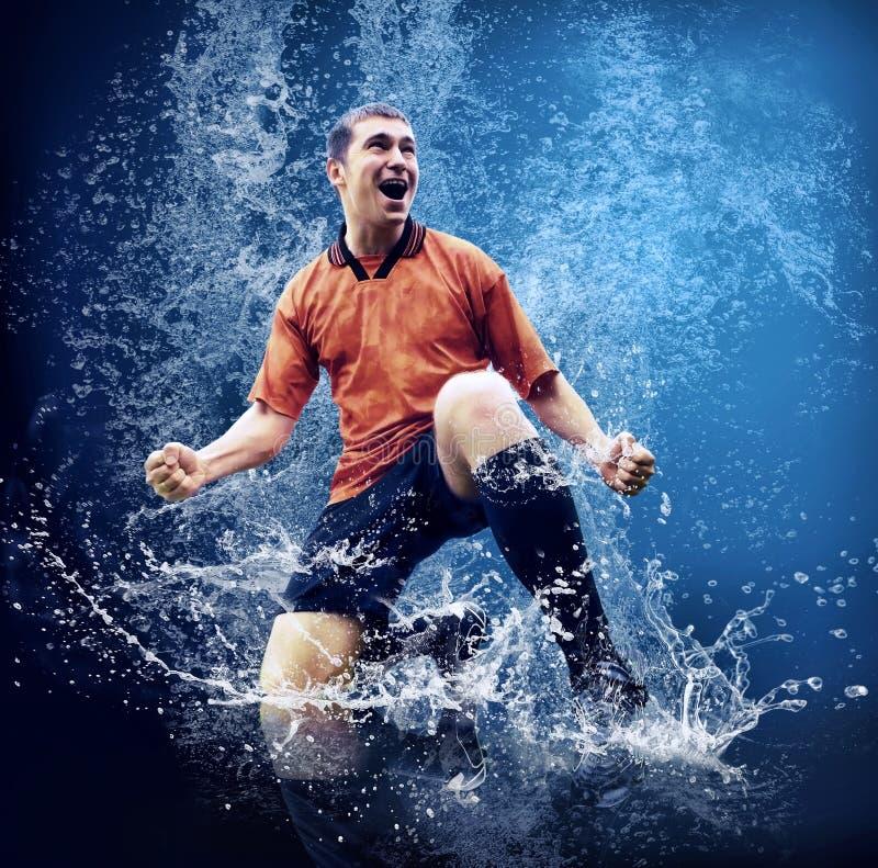 Jogador sob a água imagens de stock