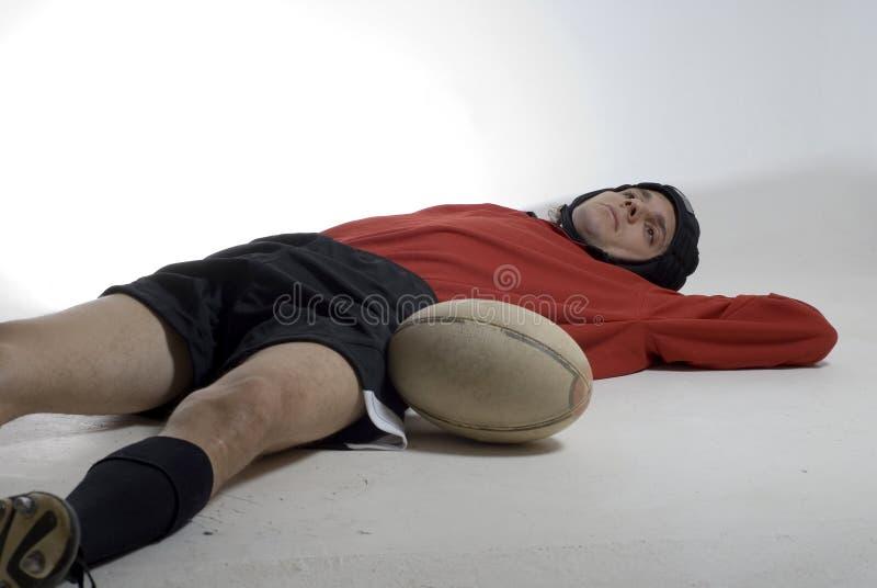 Jogador Tired do rugby - horizontal fotos de stock royalty free