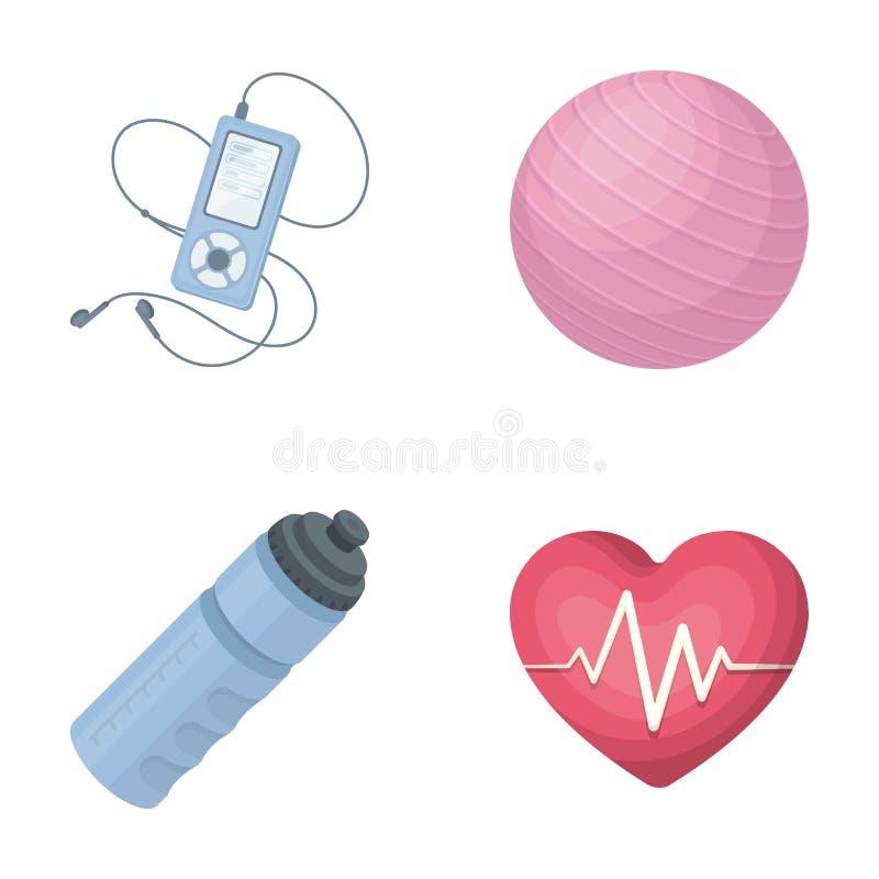 Jogador, uma garrafa da água e o outro equipamento para treinar Gym e ícones ajustados da coleção do exercício no vetor do estilo ilustração do vetor