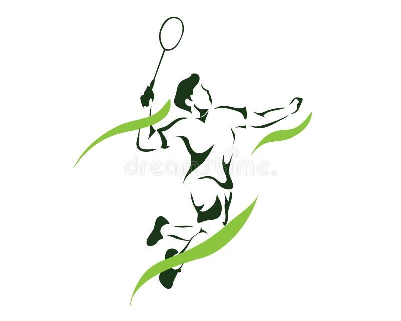 Jogador verde apaixonado moderno do badminton da quebra do ponto do jogo da chama no logotipo da ação ilustração royalty free