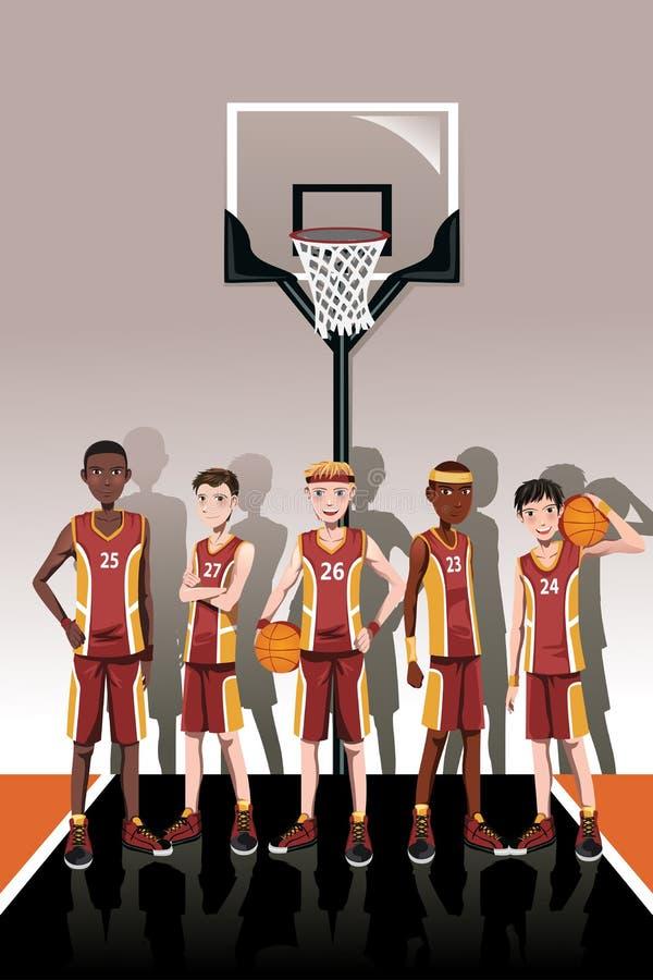 Jogadores da equipa de basquetebol ilustração royalty free