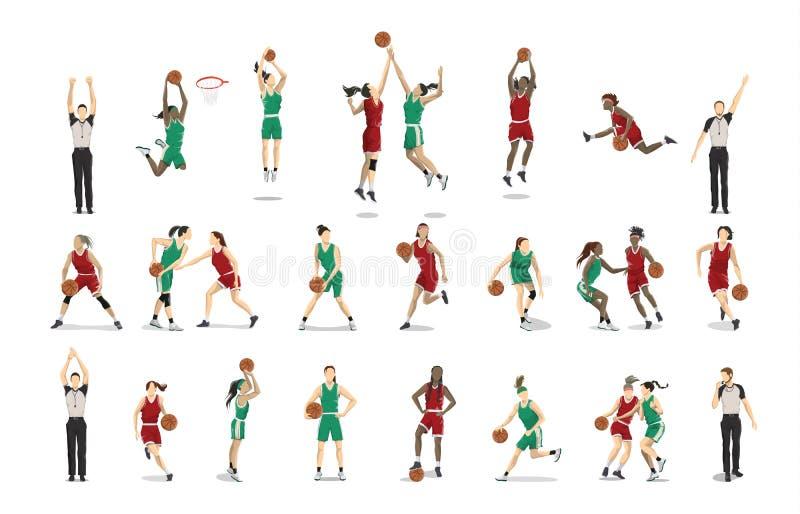 Jogadores de basquetebol ajustados ilustração royalty free