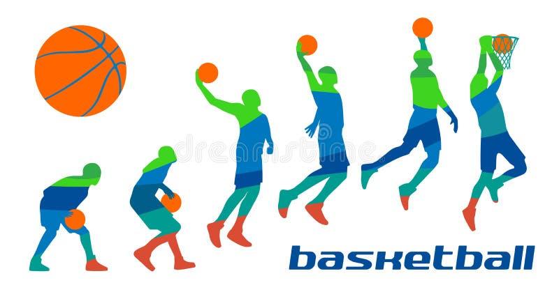 Jogadores de basquetebol diferentes ajustados das poses nas silhuetas ilustração royalty free
