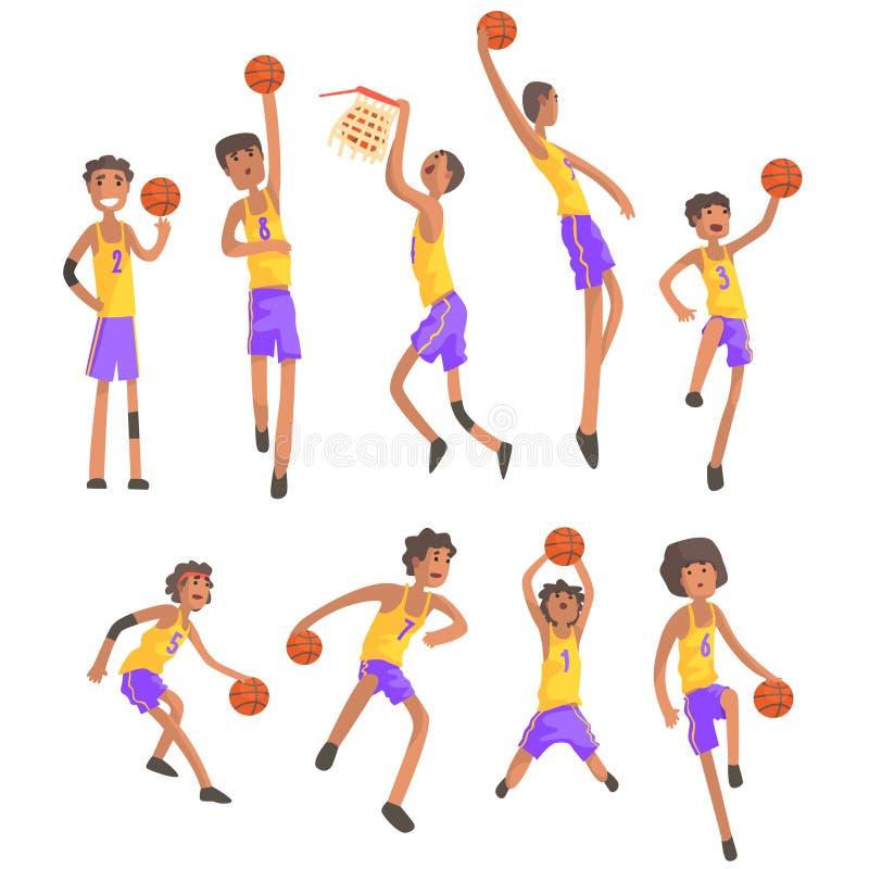 Jogadores de basquetebol do mesmo Team Action Stickers ilustração do vetor