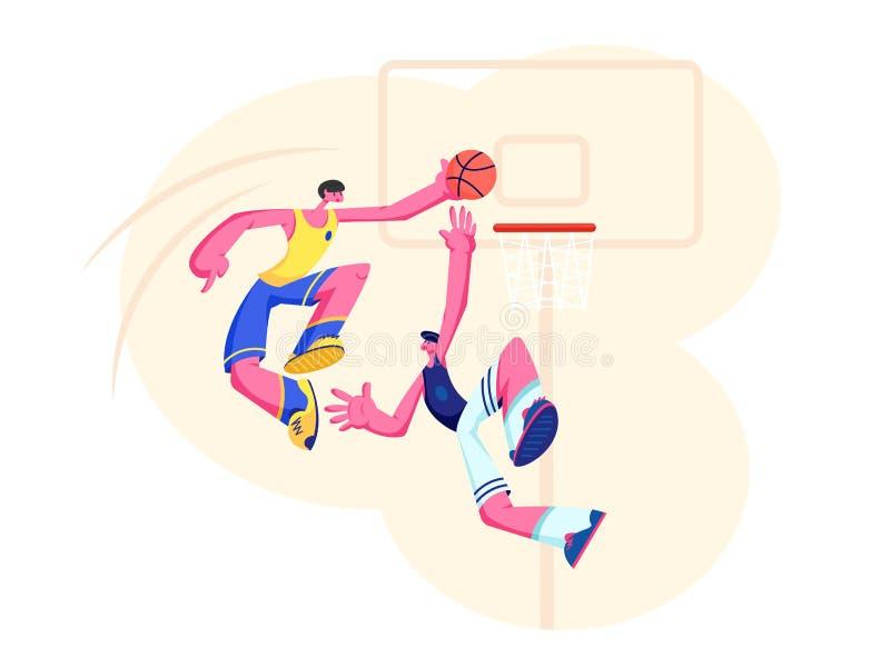 Jogadores de basquetebol na a??o Homem do ataque que p?e a bola na cesta, impedimento do defensor Equipe de esporte no competiam  ilustração royalty free