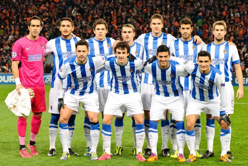 Jogadores de FC Real Sociedad imagem de stock royalty free