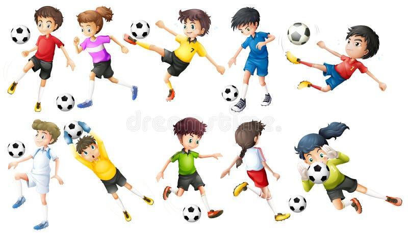 Jogadores de futebol ilustração stock