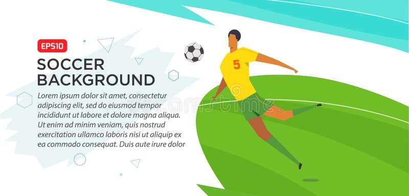 Jogadores de futebol championship Engane a ilustração do vetor da cor no estilo liso isolada no fundo branco Bandeira do cartaz ilustração do vetor