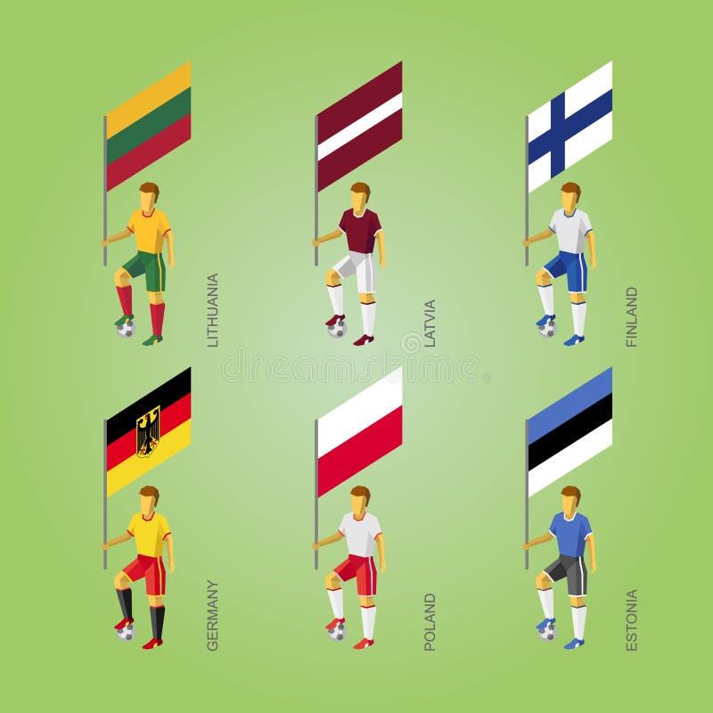 Jogadores de futebol com bandeiras: Alemanha, Letónia, Estônia, Lituânia ilustração do vetor