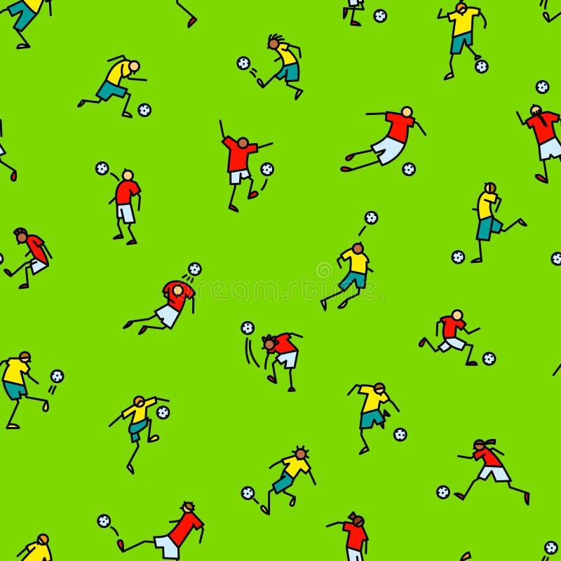 Jogadores de futebol com fundo da bola Teste padrão sem emenda dos mínimos ilustração stock