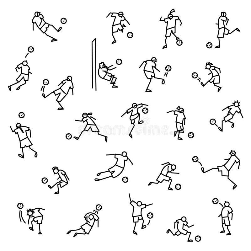 Jogadores de futebol com os ícones da bola ajustados Coleção de minimalistic ilustração do vetor
