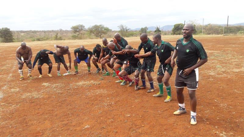 Jogadores de futebol dançando depois de ganhar um torneio de futebol em uma mania de herança imagens de stock