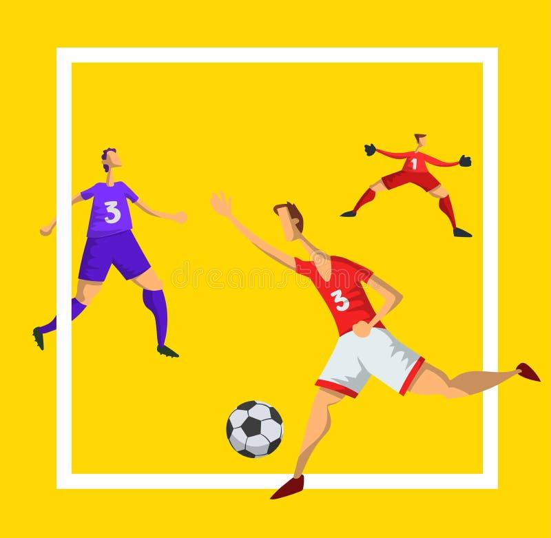 Jogadores de futebol do futebol no estilo liso abstrato Ilustração do vetor isolada no fundo branco ilustração royalty free
