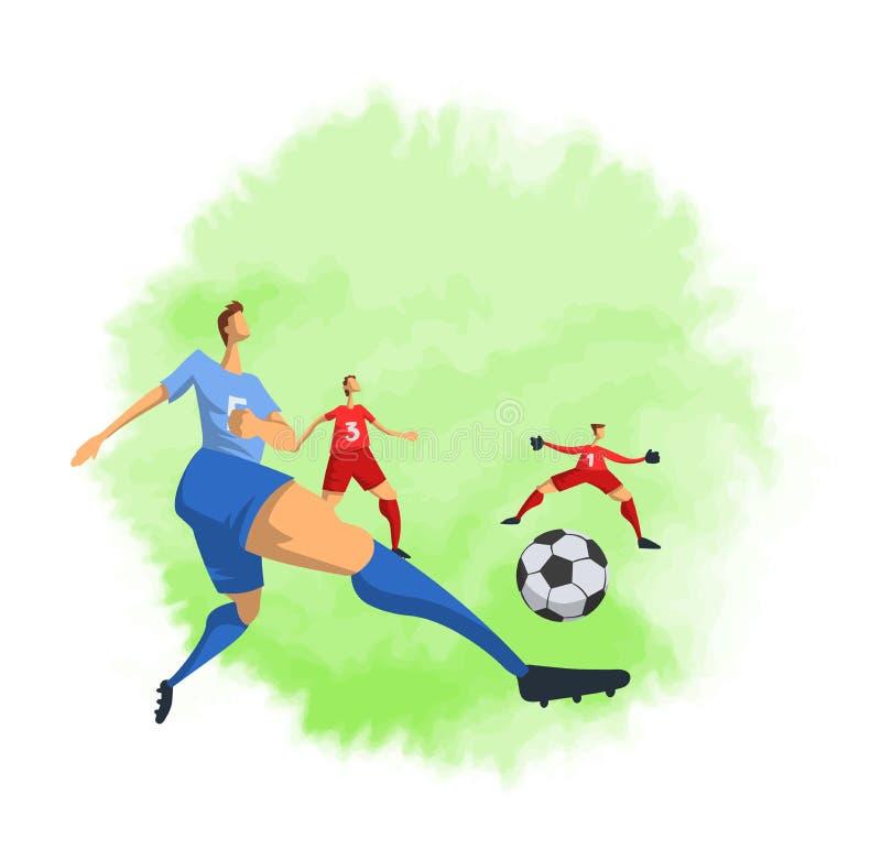 Jogadores de futebol do futebol no estilo liso abstrato Ilustração do vetor isolada no fundo branco ilustração stock