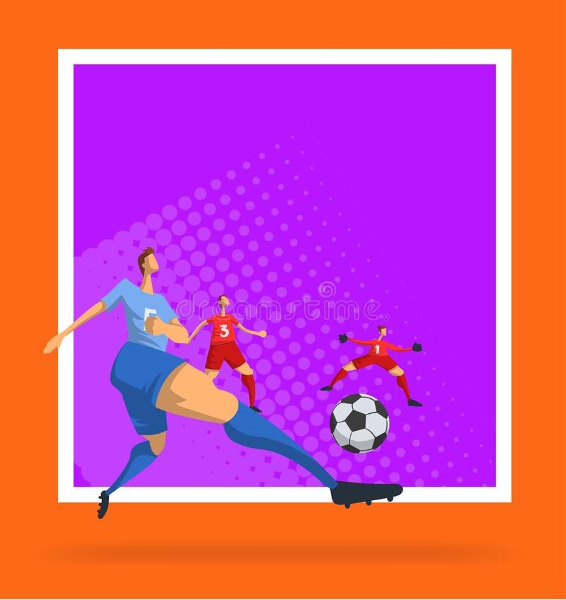 Jogadores de futebol do futebol no estilo liso abstrato Molde para o cartaz do esporte Ilustração do vetor ilustração do vetor