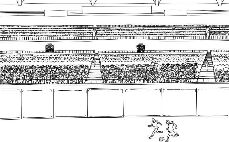 Jogadores de futebol e grande multidão no estádio ilustração do vetor