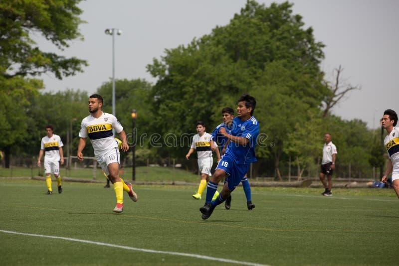 Jogadores de futebol de Flushing Meadows Corona Park fotografia de stock