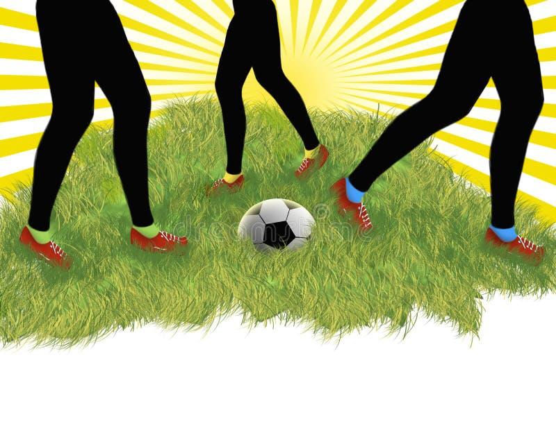 Jogadores de futebol - pés ilustração stock