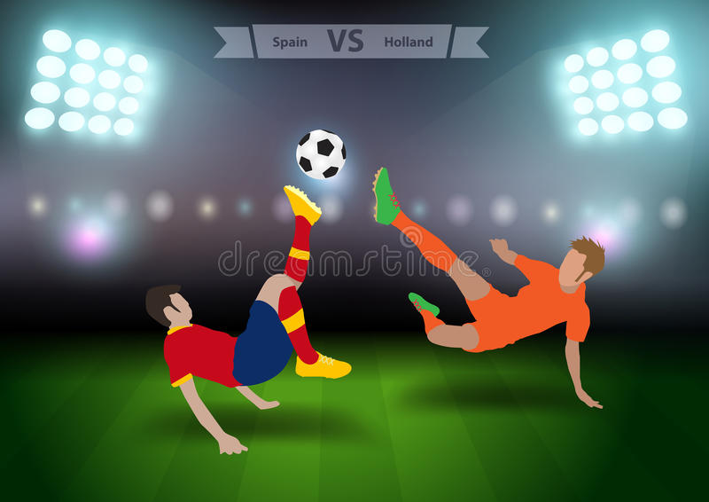 Jogadores de futebol spain contra holland ilustração stock