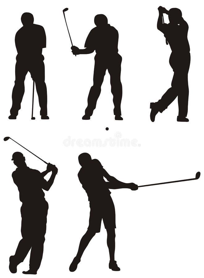 Jogadores de golfe ilustração royalty free