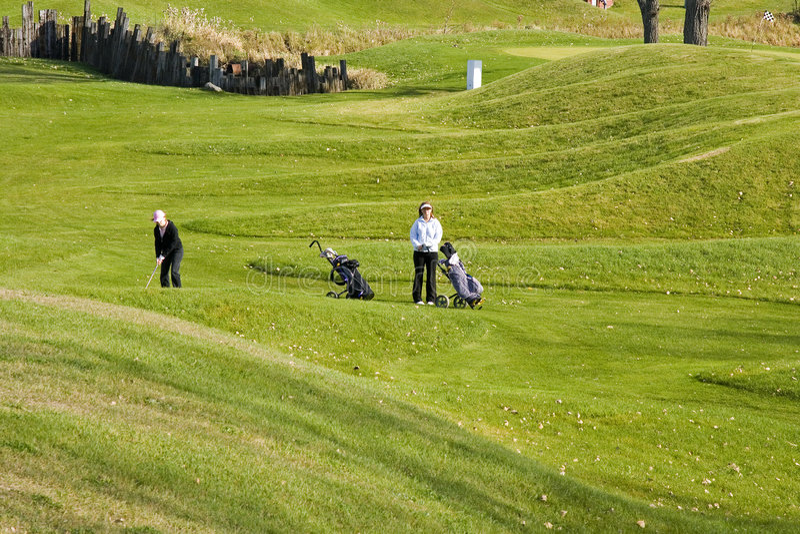 Jogadores de golfe de passeio das mulheres fotografia de stock royalty free