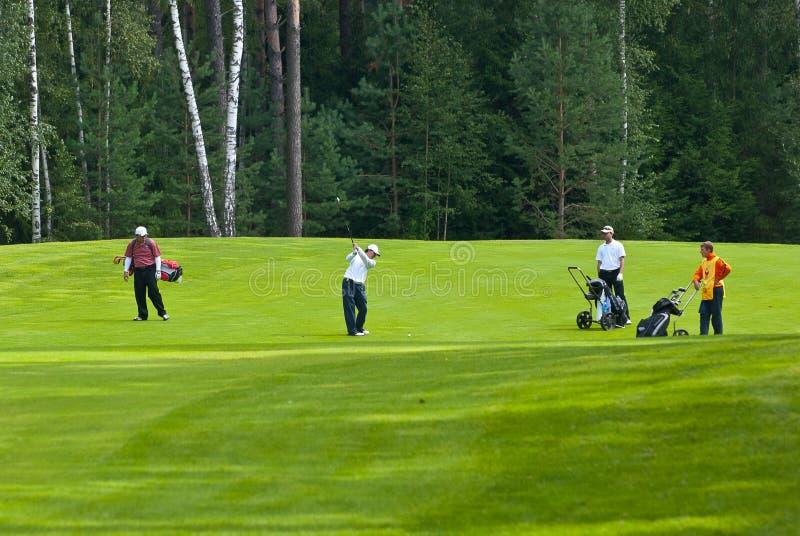 Jogadores de golfe do grupo no feeld do golfe
