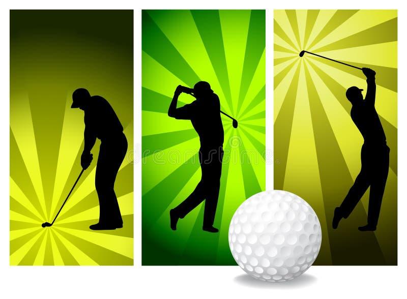 Jogadores de golfe do vetor ilustração royalty free