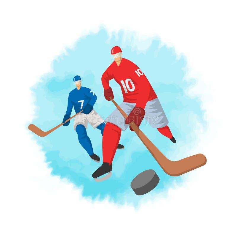 Jogadores de hóquei no estilo liso abstrato Ilustração do vetor, isolada no fundo branco ilustração stock