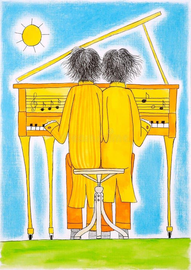 Jogadores de piano, Gêmeos, o desenho da criança, pintura da aguarela ilustração stock