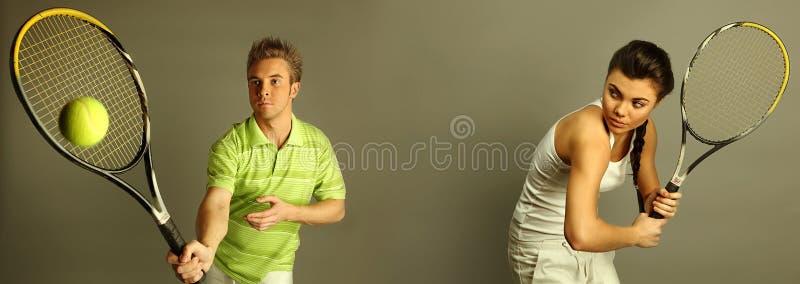 Jogadores de ténis atrativos novos fotos de stock