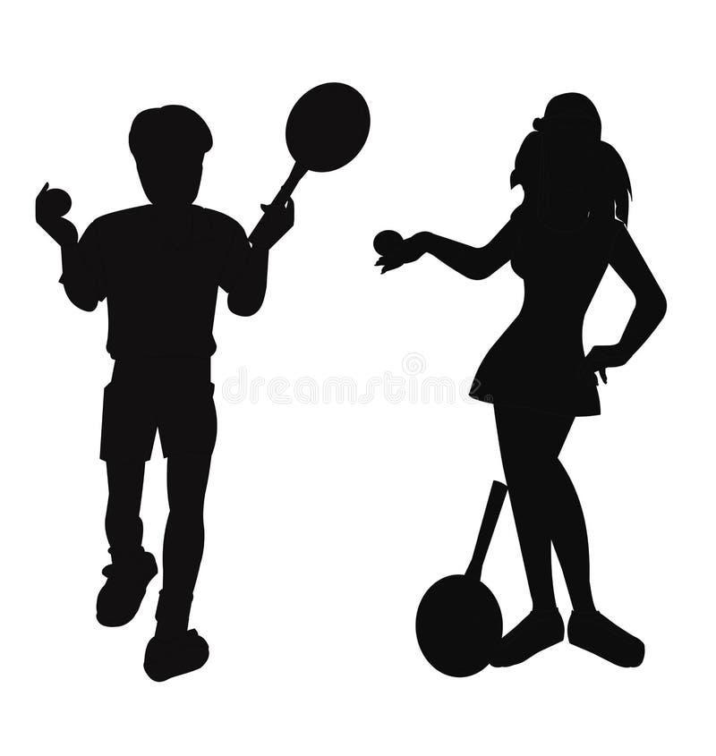 Jogadores de tênis na silhueta fotos de stock royalty free