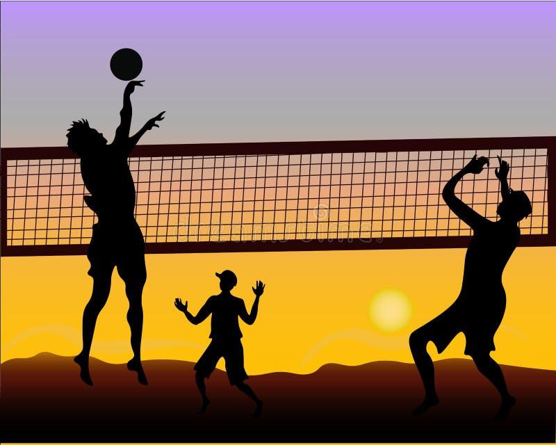 Jogadores de voleibol no por do sol - silhueta da praia ilustração do vetor