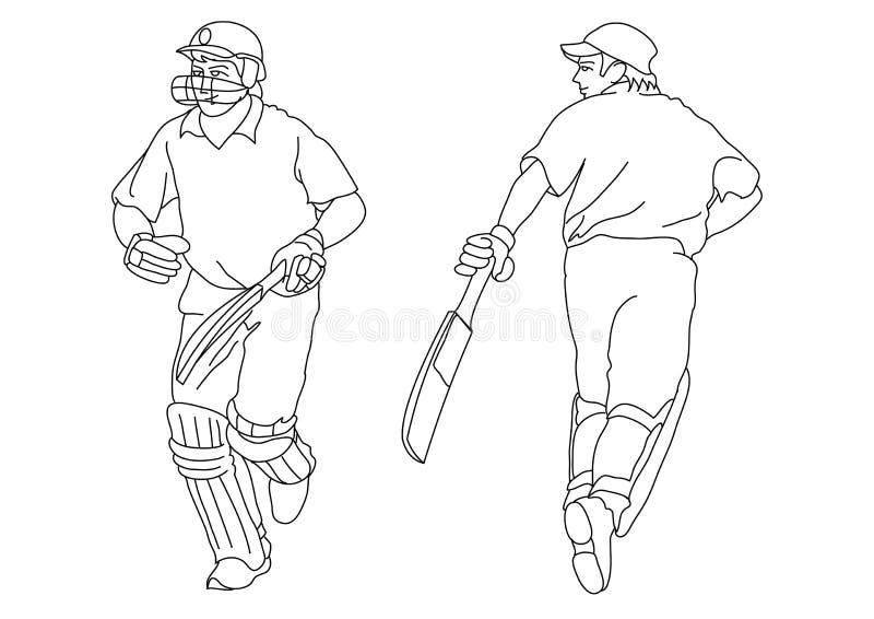 Jogadores do grilo ilustração do vetor
