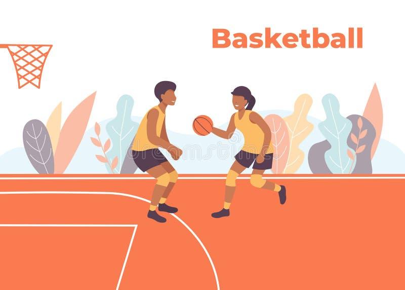 Jogadores do jogo de basquetebol no campo ilustração do vetor