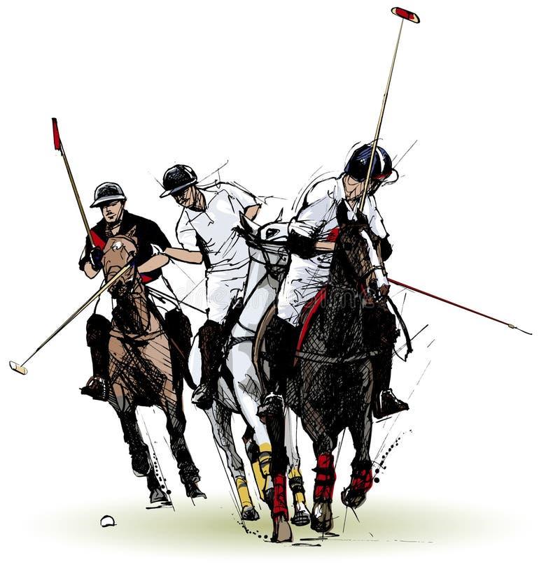 Jogadores do polo ilustração royalty free