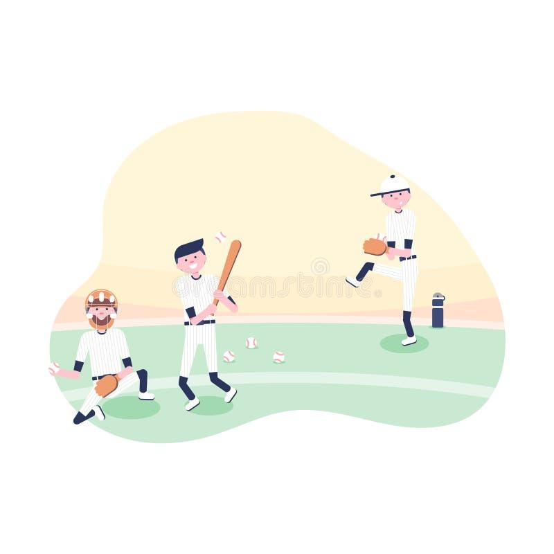 Jogadores dos desenhos animados do basebol: coletor, jarro ilustração royalty free