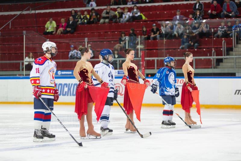 Jogadores e meninas novos do apoio no gelo imagem de stock