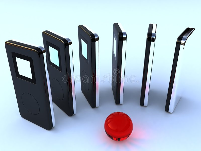 Jogadores MP3 audio digitais fotografia de stock