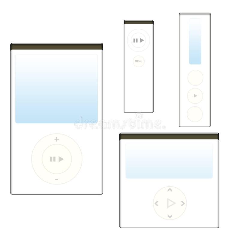 Jogadores MP3 brancos e seus modelos diferentes ilustração stock