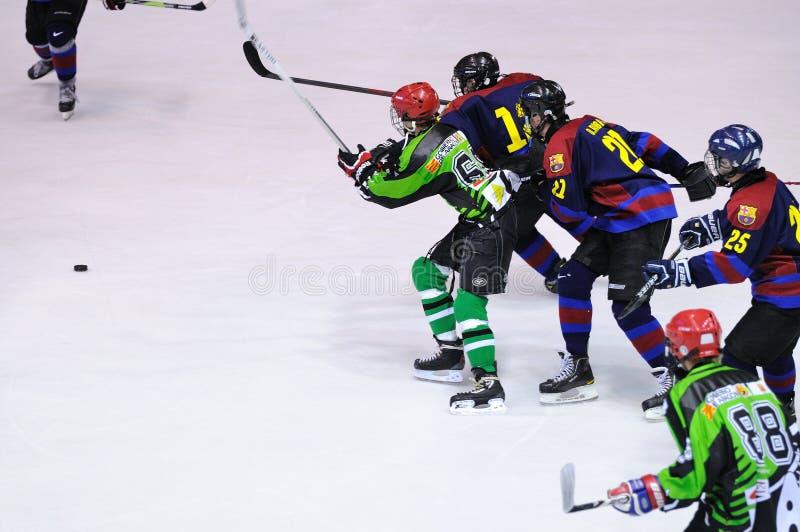 Jogadores na ação no final do hóquei em gelo do Copa del Rey (copo espanhol) entre F C Equipes de Barcelona e de Jabac Terrassa fotos de stock