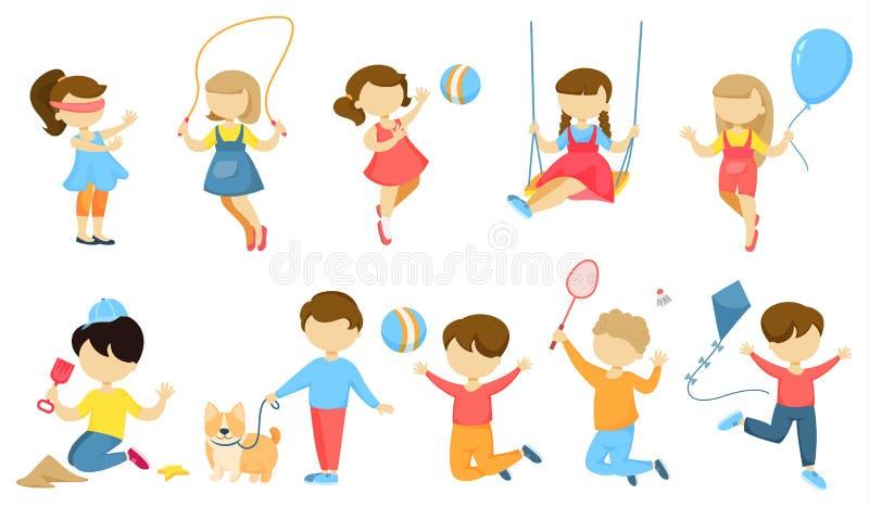 Jogando as crianças ajustadas ilustração royalty free