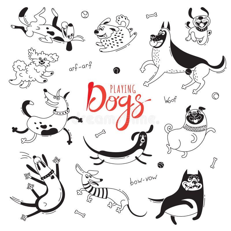 Jogando cães O regaço-cão engraçado, o pug feliz, os híbridos e outro produzem Grupo de desenhos isolados do vetor para o projeto ilustração royalty free