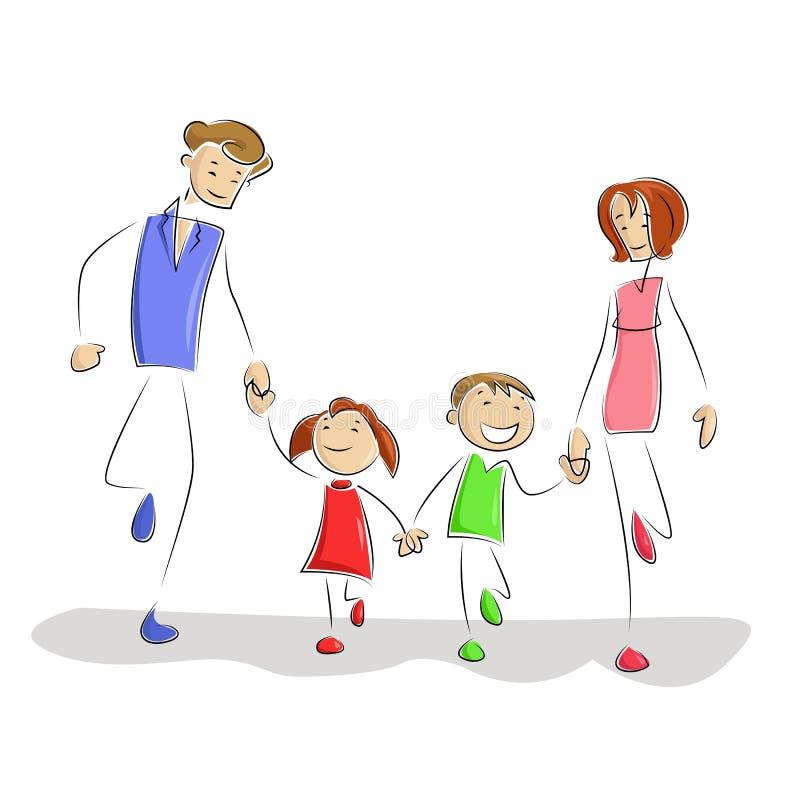 Jogando a família ilustração royalty free