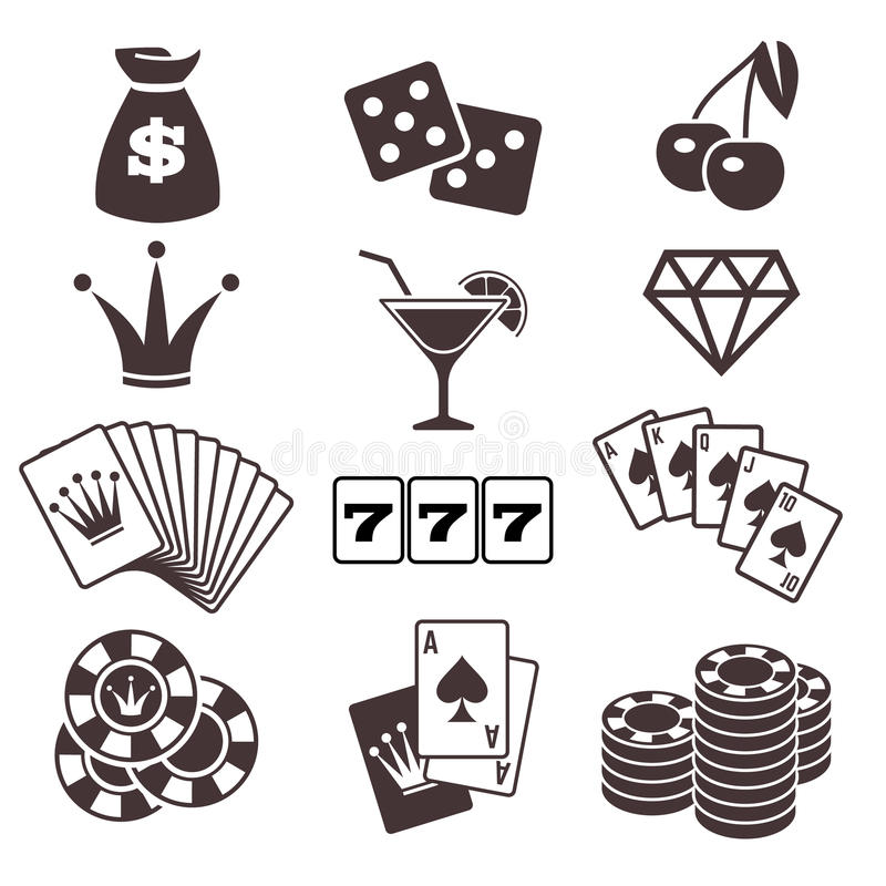 Jogando, jogo de cartas do pôquer, casino, ícones do vetor da sorte ajustados ilustração royalty free