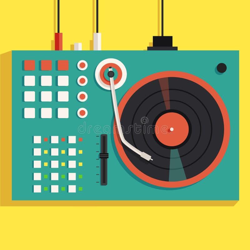 Jogando a música de mistura na plataforma giratória do vinil Ilustração lisa do vetor ilustração stock