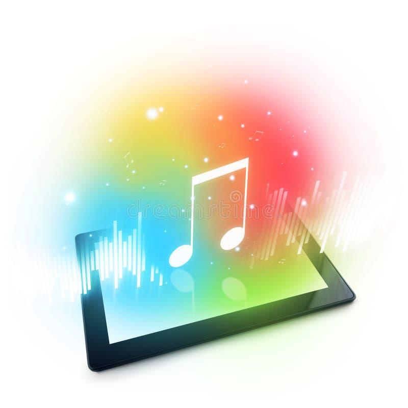 Jogando a música no tablet pc de Digitas fotografia de stock
