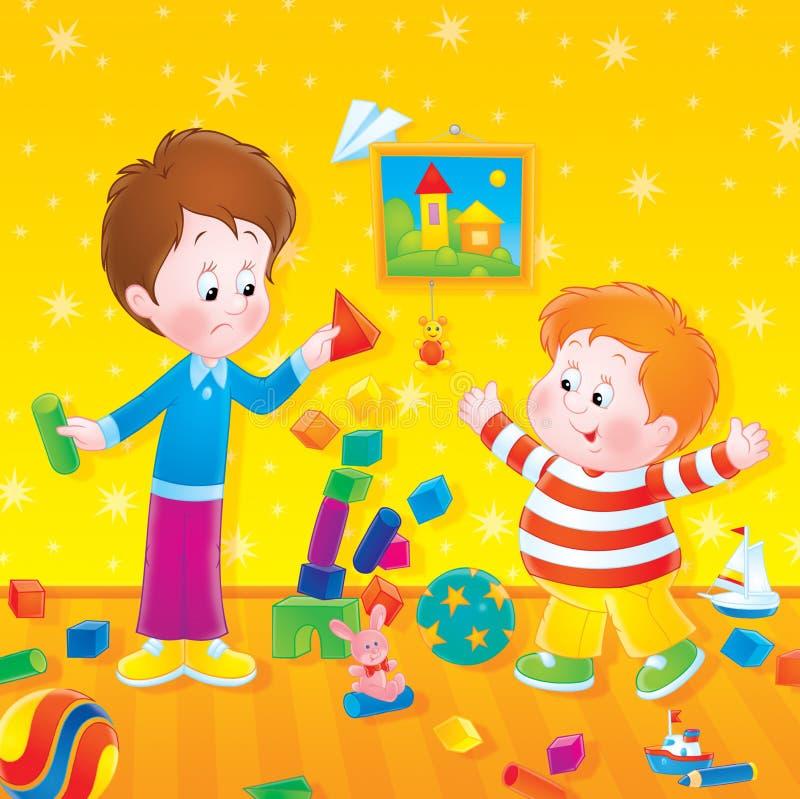 Jogando meninos ilustração stock