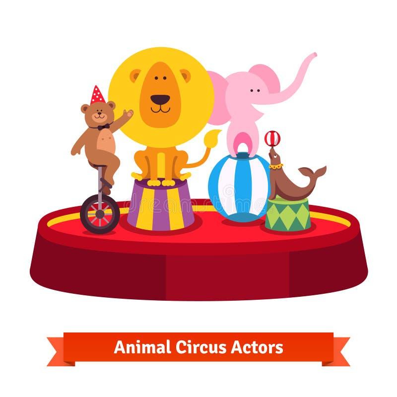 Jogando a mostra dos animais de circo na arena vermelha ilustração royalty free